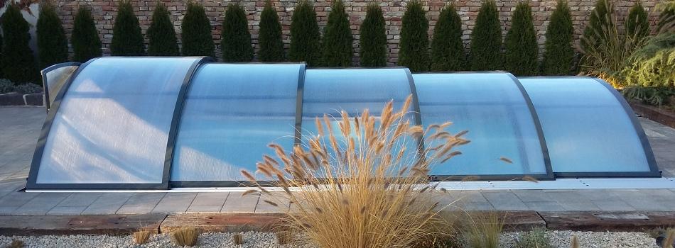 Zastřešení bazénů Poolor Classic v antacitové barvě